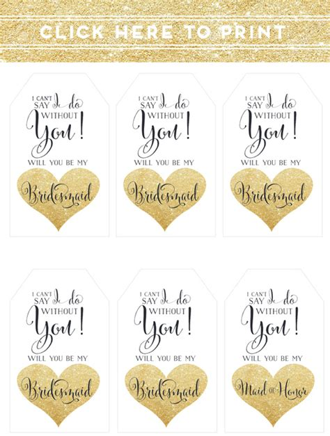 be my free easy will you be my bridesmaid idea free printable