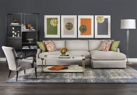 grey orange living room uptown funk combining a neutral backdrop with bright pops of color this tailored