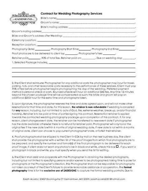 5 Free Wedding Photography Contract Templates Photography Contract Forms Template