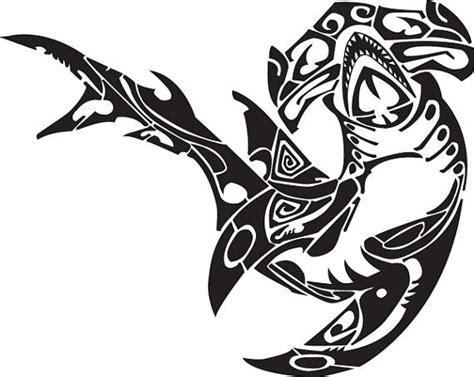 shark 2 hammerhead polynesian tribal tattoo design svg