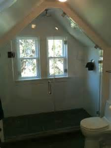 angled ceiling with shower door attic ideas