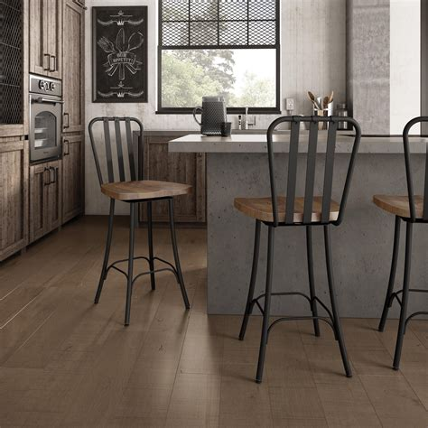 Distressed Wood Counter Stools by Amisco Bond Swivel Metal Stool Distressed Wood Seat