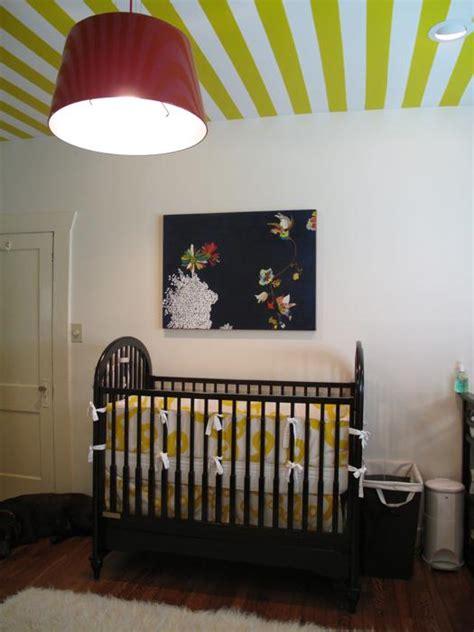 Black And Yellow Crib Bedding Striped Nursery Walls Design Ideas