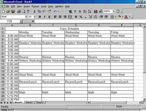 how to make a class schedule in excel class schedule college class
