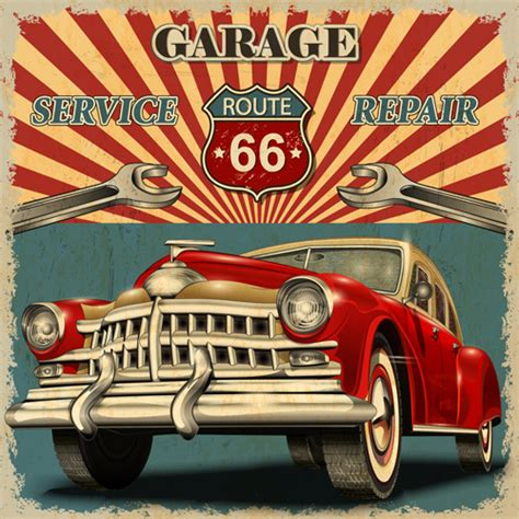 Auto Poster by Car Posters Vintage Style Vector Free Vector In Adobe