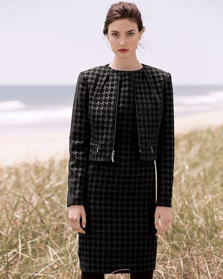 Houndstooth Dress Set albert nipon large houndstooth sleeveless dress jacket set