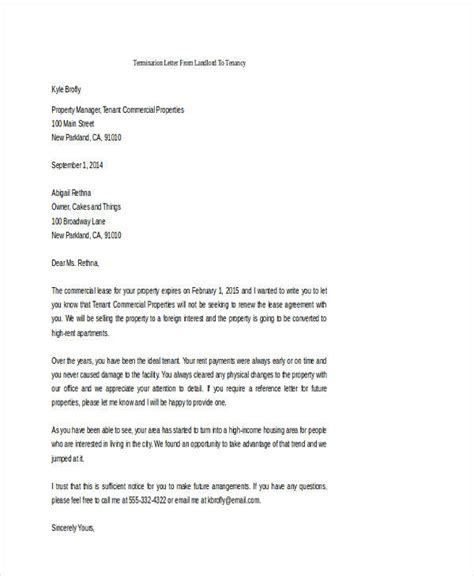 Tenancy Termination Letter From Landlord 53 Termination Letter Exles