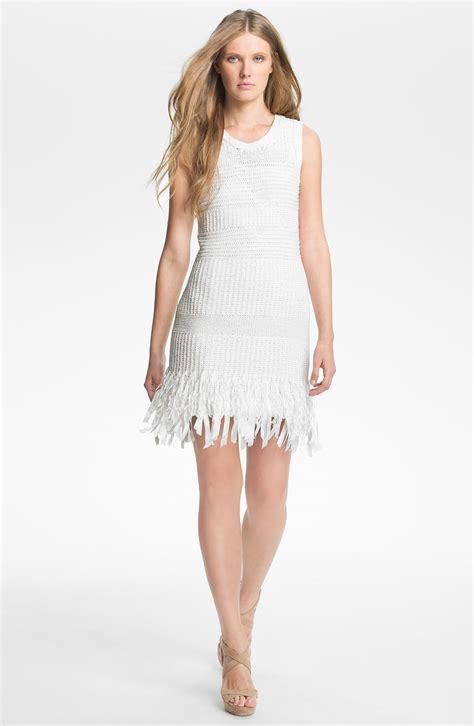 how to hem knit dress mcginn lissa fringe hem knit dress in white lyst