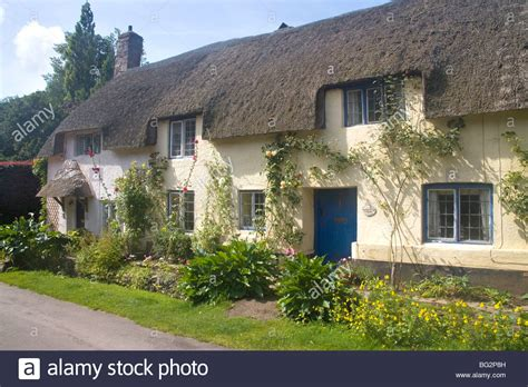 Cottages In Dunster by Thatched Cottage In Dunster Stock Photo Royalty Free