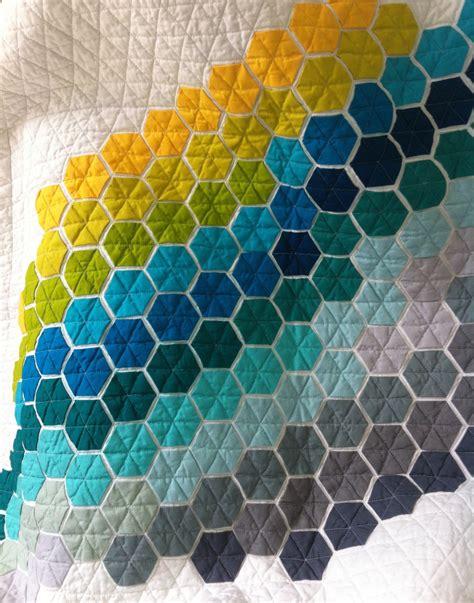 Hexagon Patchwork Quilt - baby quilt modern hexagon quilt cot patchwork quilt modern