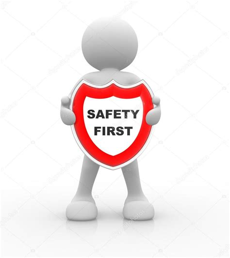 stock illustration of 3d man with safety equipment on 3d man and a shield with sign safety first stock photo