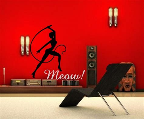 bedroom decals for adults spicy artistic meow wall decor vinyl