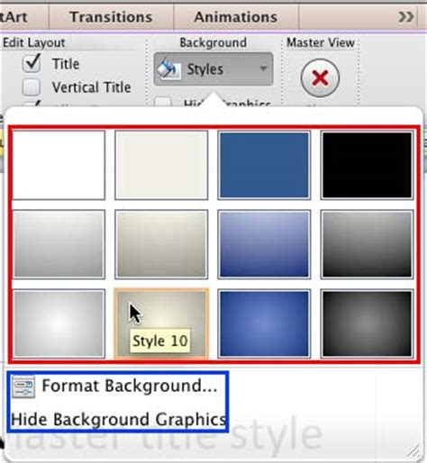 change the themes background style to style 9 change background styles for slide layouts in powerpoint