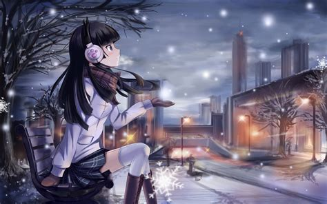 anime girl winter wallpaper beautiful winter anime pictures digiatto com hd