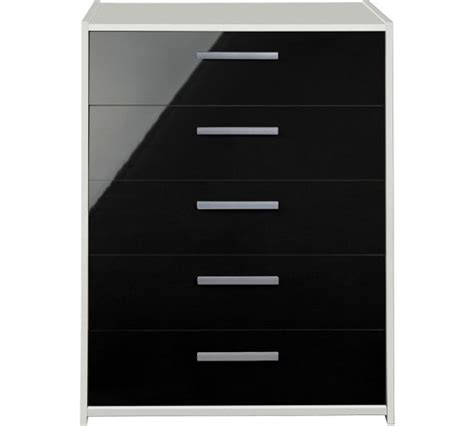 buy home new sywell 5 drawer chest white black gloss