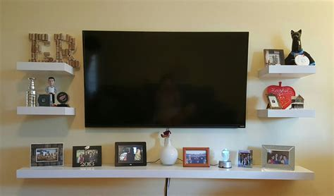 shelf decorations living room tv wall mount with shelf for cable box into the glass