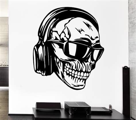 Discount Wall Murals creative skull vinyl wall headphones music skull glasses