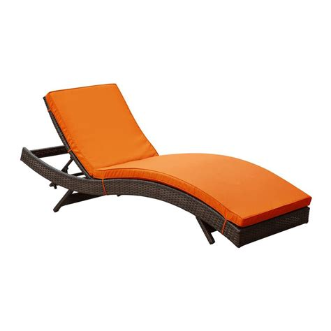 Patio Chaise Lounge Shop Modway Peer Espresso Rattan Plastic Stackable Patio Chaise Lounge Chair At Lowes