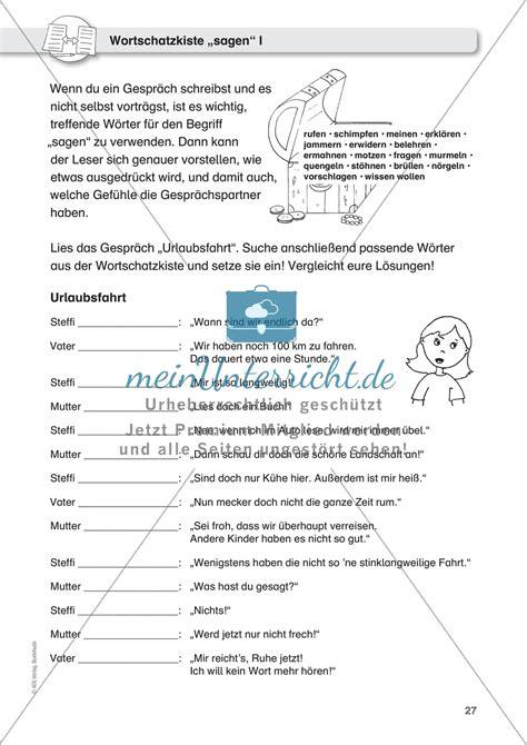 Text Schreiben Muster Dialoge Schreiben Missverst 228 Ndnisse Und Gr 252 Nde Schatzwortkiste Quot Sagen Quot Merkmale Eines