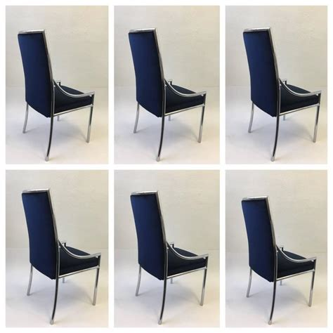 Blue Velvet Dining Chairs Set Of Six Chrome And Royal Blue Velvet Dining Chair Attributed To Cardin For Sale At 1stdibs