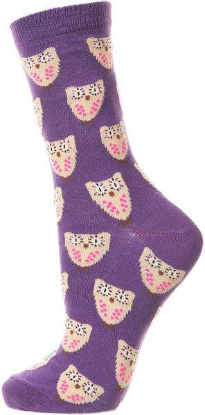 Topshops Owl by Topshop Owl Ankle Socks In Purple Lyst