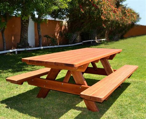 wooden picnic table with benches forever wood picnic tables built to last decades
