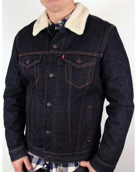 jacket levis superdark levis sherpa trucker jacket denim mens coat