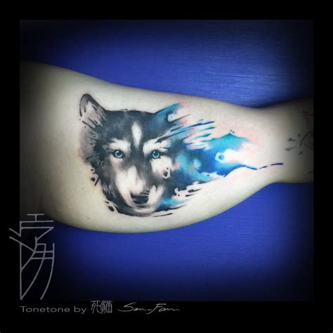 traditional tattoo wolfhat wolf border husky watercolor by sakura1690 on deviantart