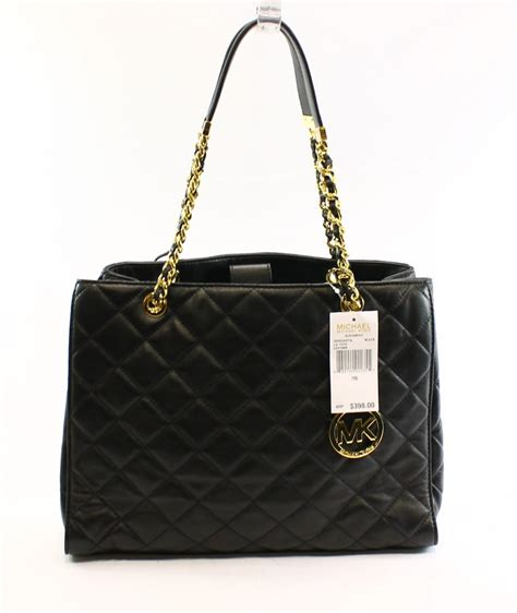 Tas Michael Kors Original Michael Kors Susannah Large Tore Tangerine michael kors new black leather quilted susannah large tote bag purse 398 ebay