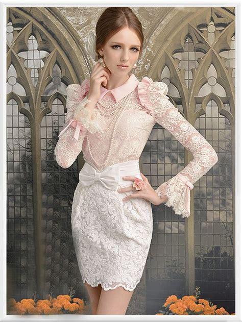 Blouse Blus Top Atasan Pan Collar Ungu Layer Adem morpheus boutique pink high collar shoulder princess flare sleeve lace ruffle shirt