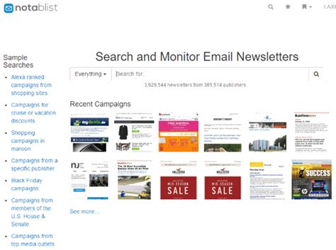 Free Email Searches With Free Results Search Engine To Search For Email Newsletters Notablist