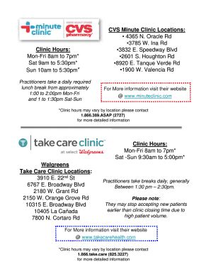Editable Cvs Minute Clinic Locations Fill Print Download Online Forms Templates In Word Minute Clinic Doctors Note Template