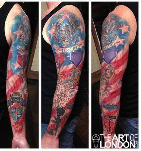 army ranger tattoos sleeve army ranger memorial design tatted