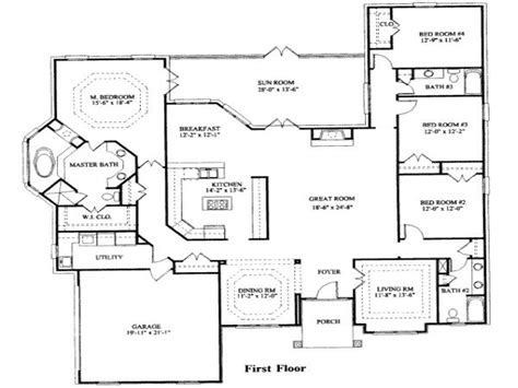 floor plans for a four bedroom house 4 bedroom ranch house plans 4 bedroom house plans modern