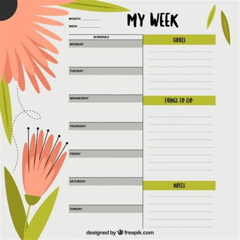 daily planner template ai weekly planner with flowers vector free download