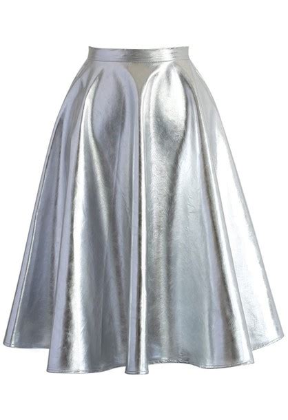 skirt chicwish silver faux leather a line midi skirt