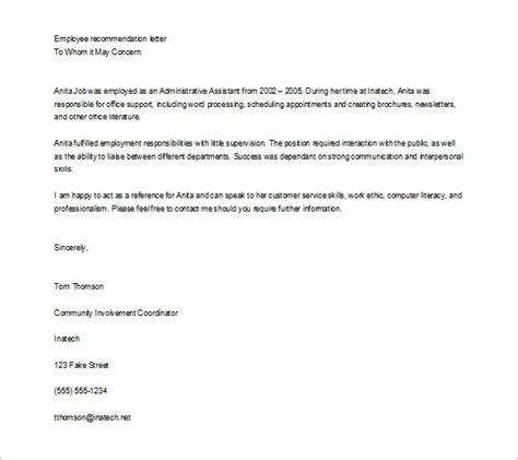 reference letter template for employee 11 recommendation letters free sle exle