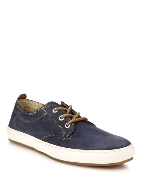 deck sneakers lyst frye norfolk nubuck leather deck shoes in blue