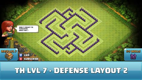 best wall pattern clash of clans clash of clans fun wall art th7 defense layout 2 youtube