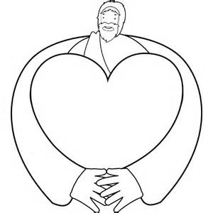 jesus making heart coloring