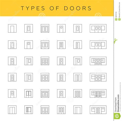Types of doors stock illustration image of interior 59876756