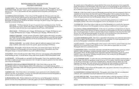endorsement contract template september 2011 a photo editor