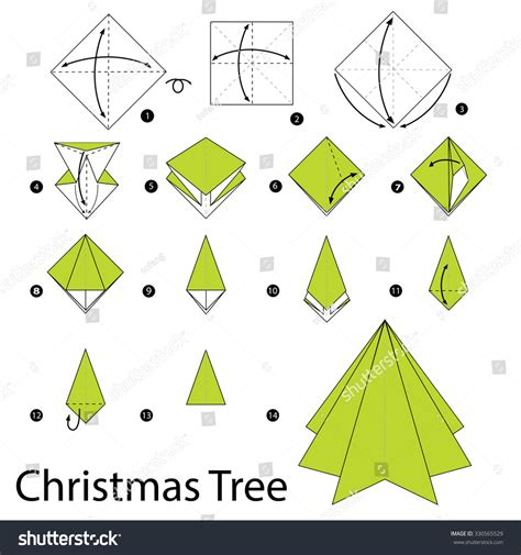 step by step how to make origami tree stock vector illustration