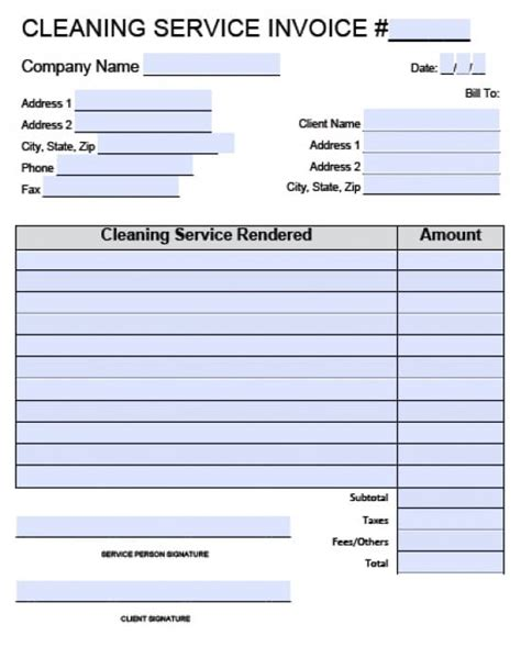 Free House Cleaning Service Invoice Template   Excel   PDF