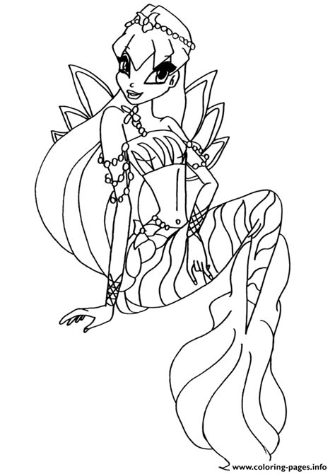winx mermaids coloring pages mermaid stella winx club coloring pages printable
