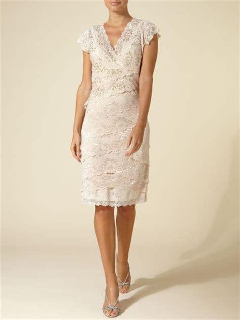 Js Vneck js collections lace v neck layered dress in beige