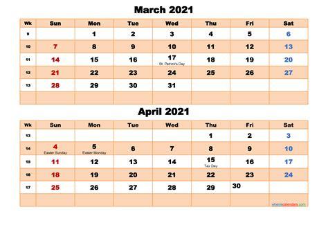 march  april calendar  printable word
