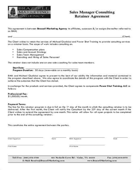 Retainer Agreement Template by Sle Consulting Retainer Agreements 9 Exles In