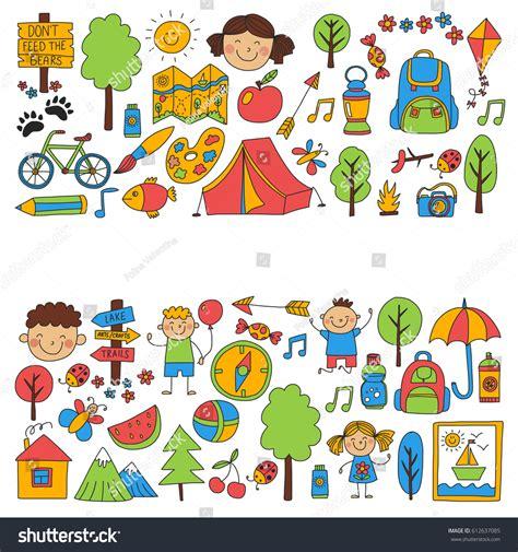 photoplay doodle design draw summer c children cing children stock vector