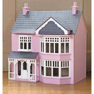 pink wooden art deco style 3 storey dolls house kit